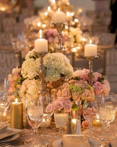 Vintage Wedding Inspiration Table Candles